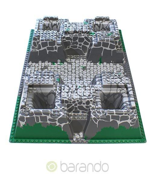 Lego 3d Platte 30271pb01 als graue Burgplatte raised