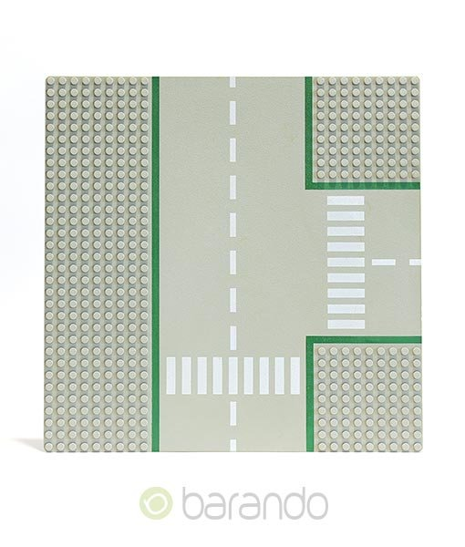 Lego Platte 608p01 hellgraue Straßenplatte T-Kreuzung