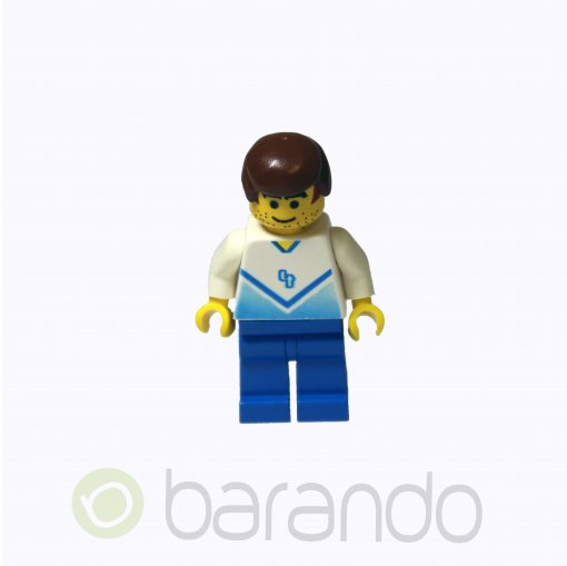 LEGO Soccer Player White & Blue Team with shirt #4 on Back soc082 Soccer